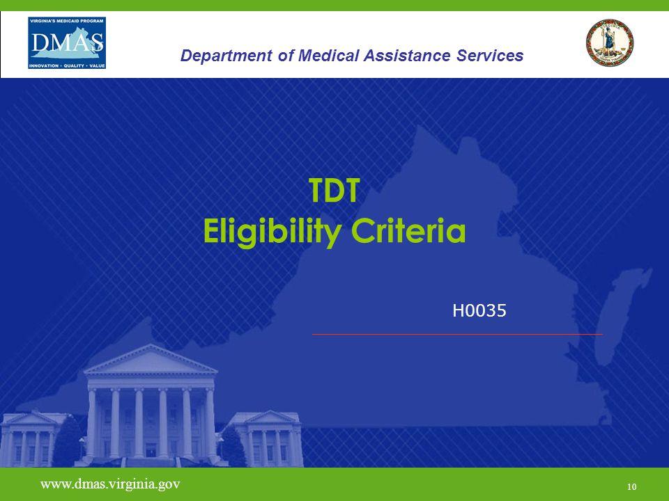 TDT Eligibility Criteria