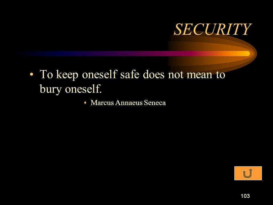 SECURITY To keep oneself safe does not mean to bury oneself.
