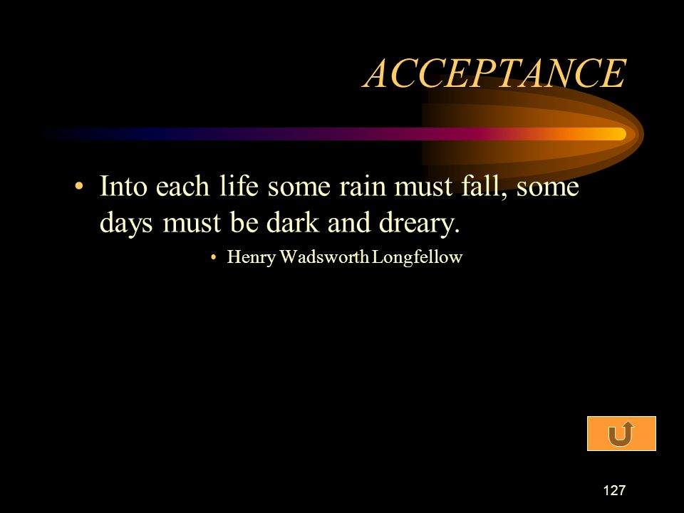 ACCEPTANCE Into each life some rain must fall, some days must be dark and dreary.