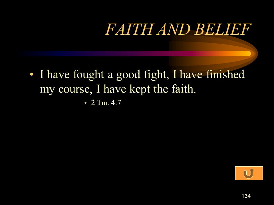 FAITH AND BELIEF I have fought a good fight, I have finished my course, I have kept the faith.