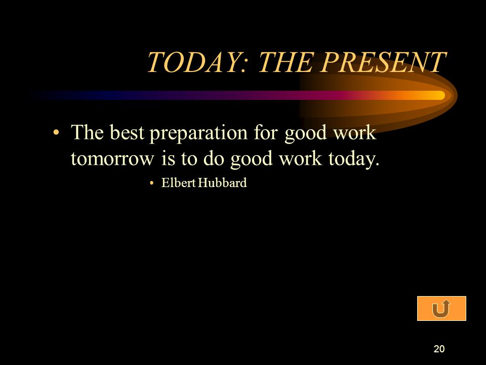 TODAY: THE PRESENT The best preparation for good work tomorrow is to do good work today.