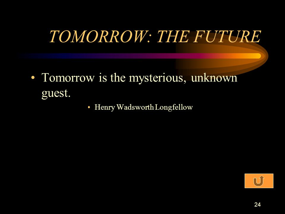 TOMORROW: THE FUTURE Tomorrow is the mysterious, unknown guest.