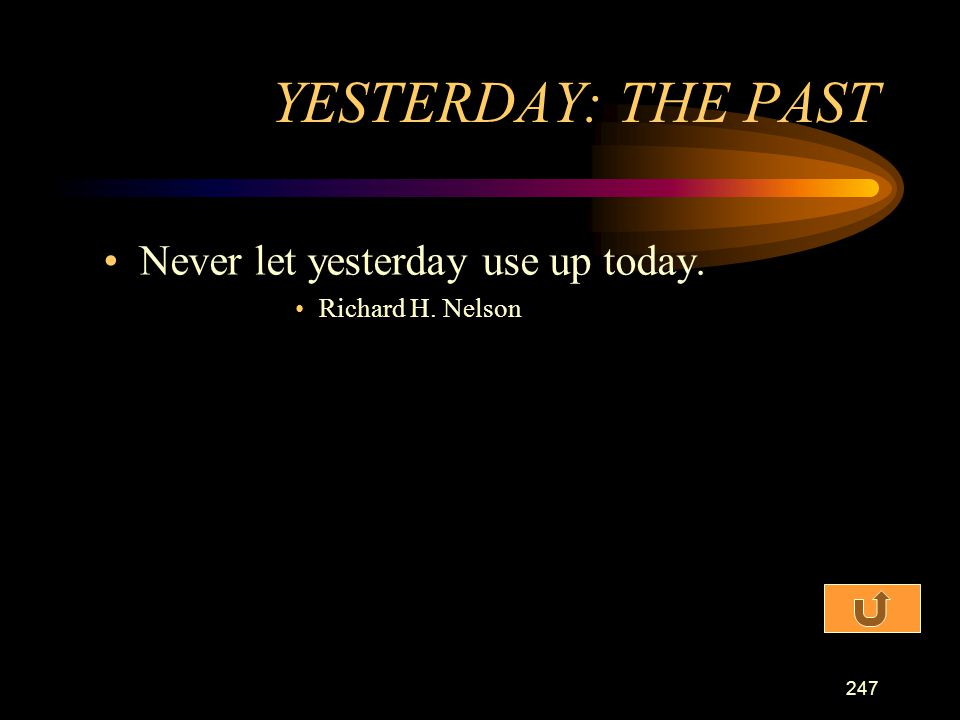 YESTERDAY: THE PAST Never let yesterday use up today.
