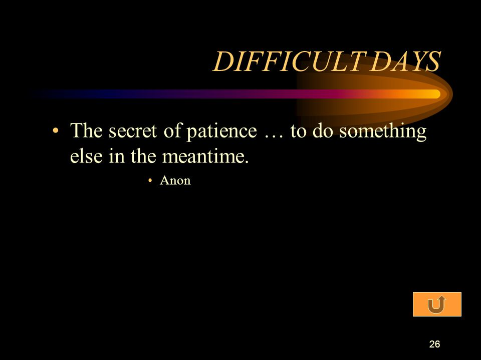 DIFFICULT DAYS The secret of patience … to do something else in the meantime. Anon