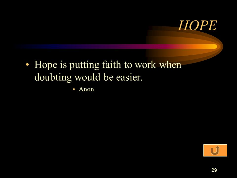 HOPE Hope is putting faith to work when doubting would be easier. Anon
