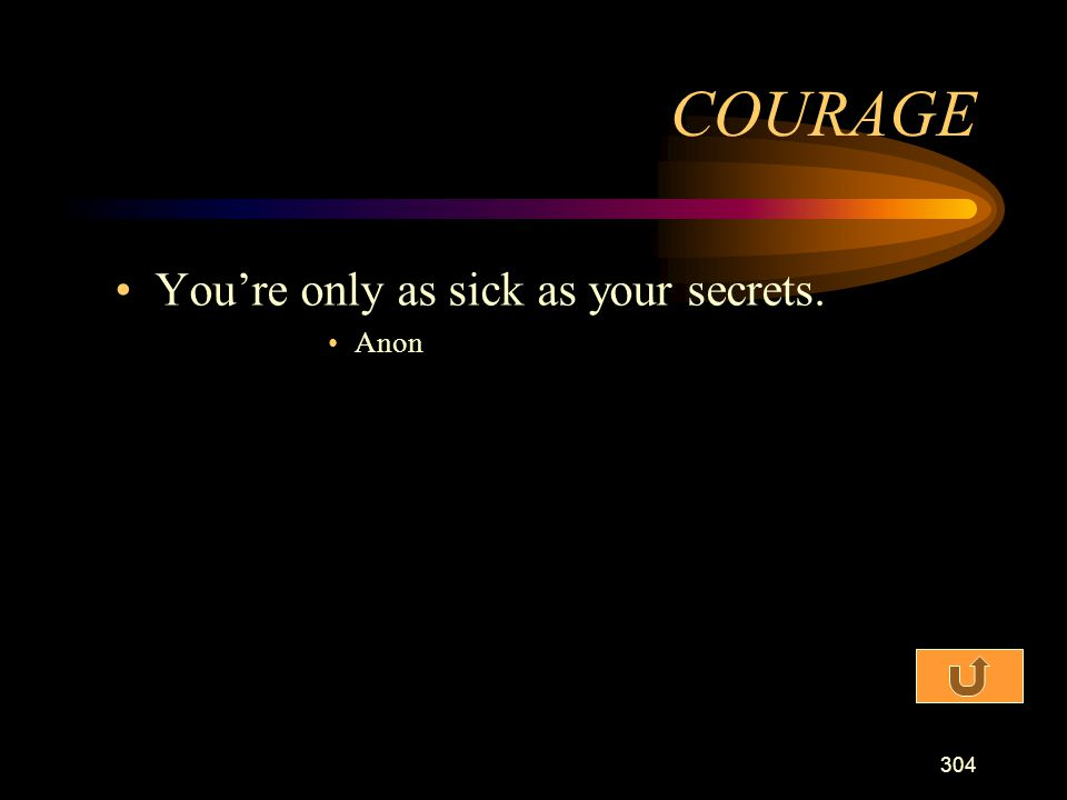 COURAGE You're only as sick as your secrets. Anon