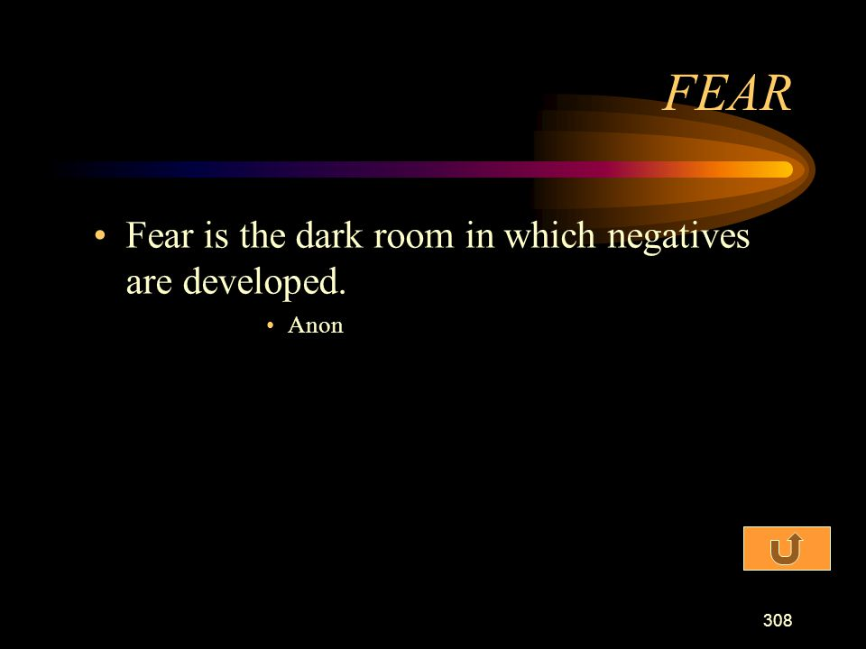 FEAR Fear is the dark room in which negatives are developed. Anon
