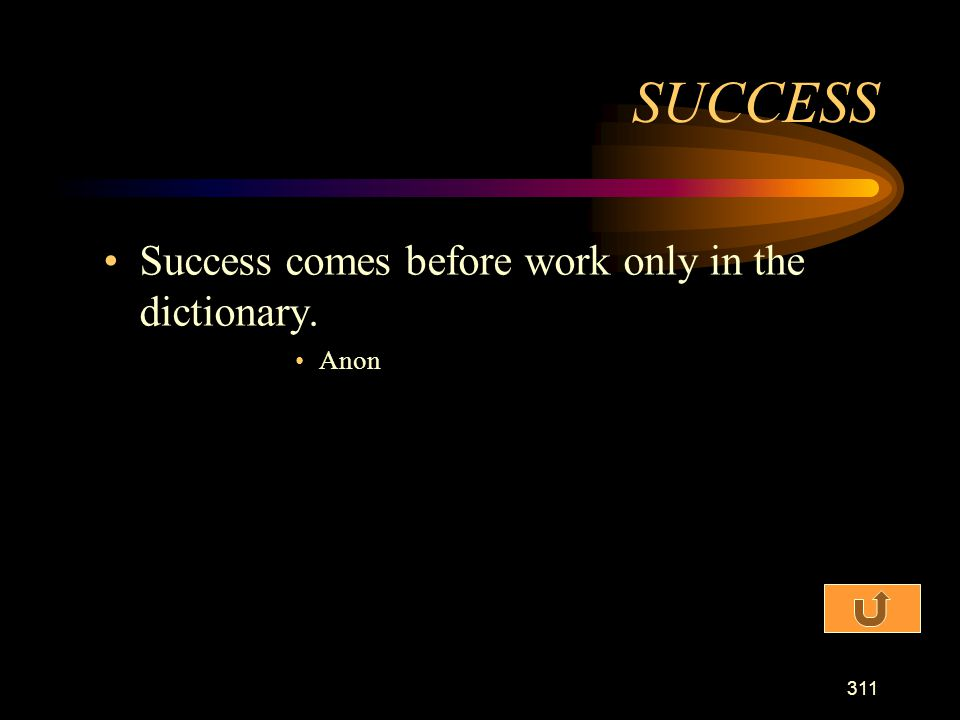 SUCCESS Success comes before work only in the dictionary. Anon
