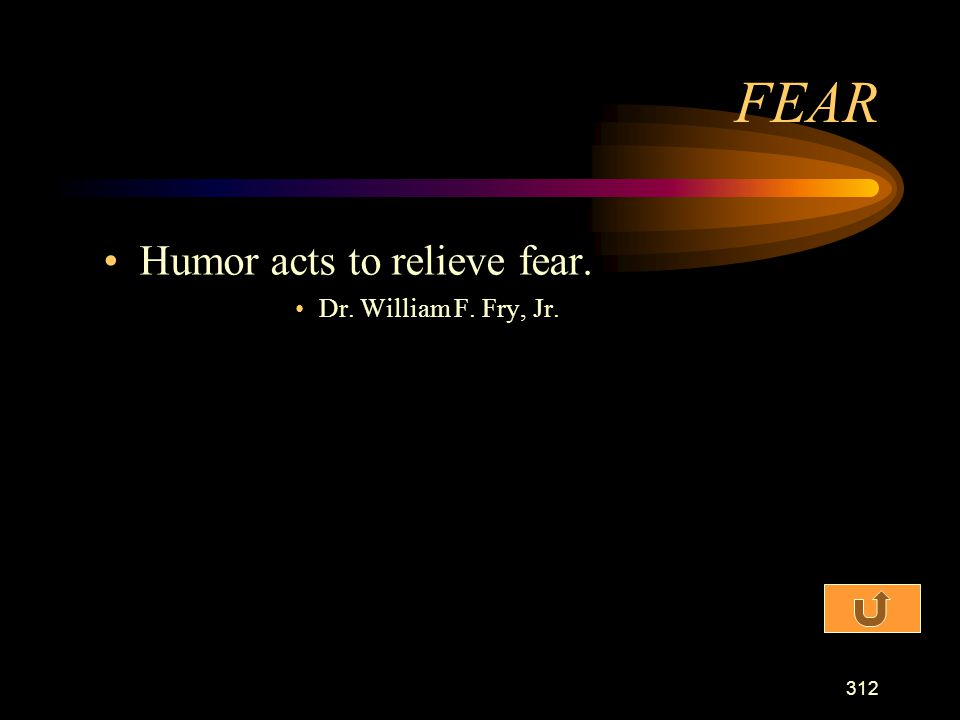 FEAR Humor acts to relieve fear. Dr. William F. Fry, Jr.