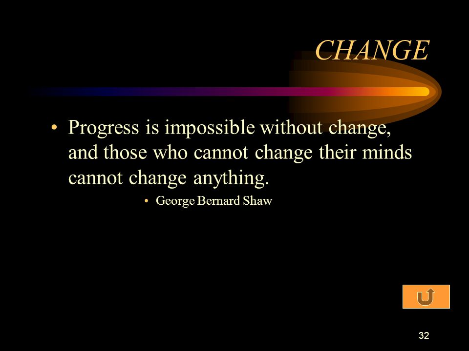 CHANGE Progress is impossible without change, and those who cannot change their minds cannot change anything.