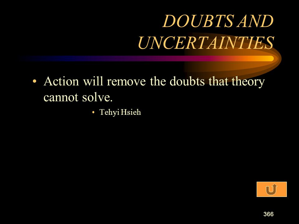 DOUBTS AND UNCERTAINTIES