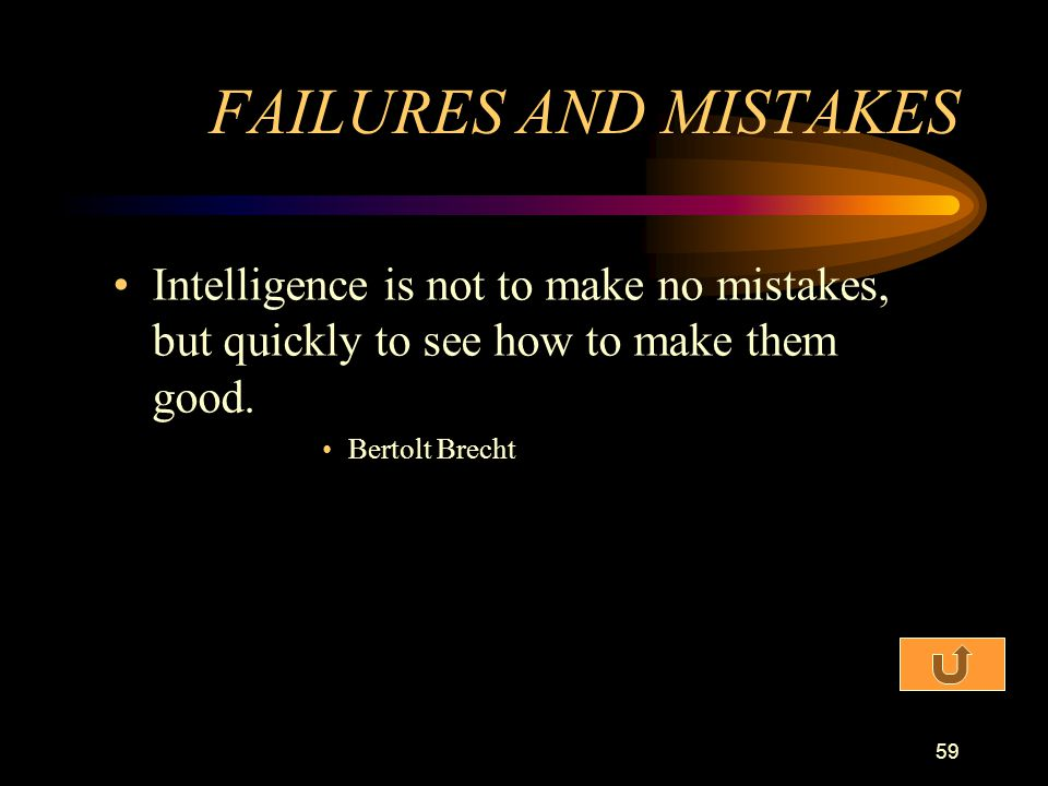FAILURES AND MISTAKES Intelligence is not to make no mistakes, but quickly to see how to make them good.