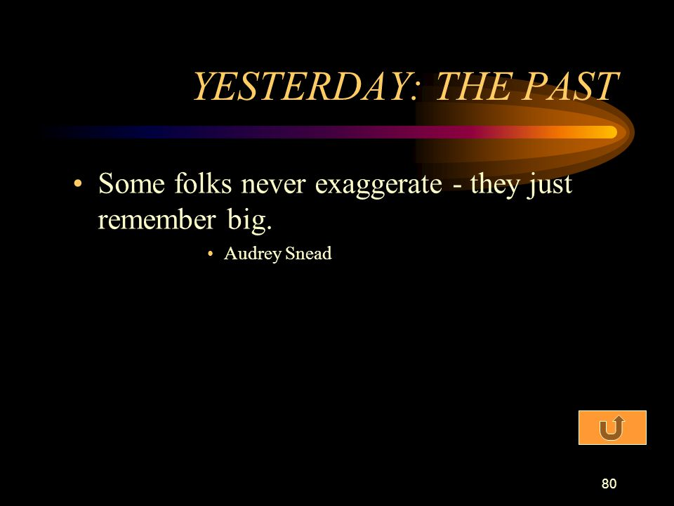 YESTERDAY: THE PAST Some folks never exaggerate - they just remember big. Audrey Snead