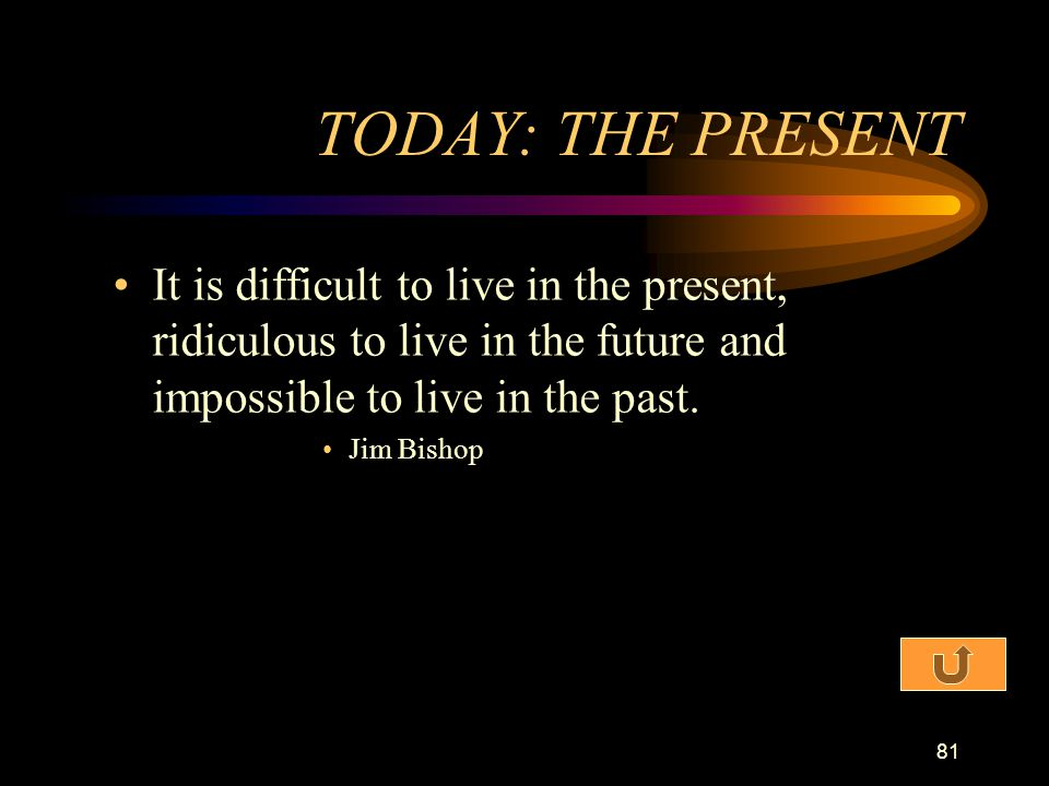 TODAY: THE PRESENT It is difficult to live in the present, ridiculous to live in the future and impossible to live in the past.