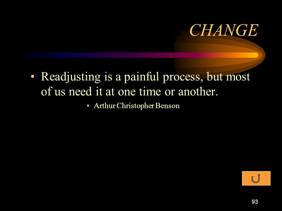 CHANGE Readjusting is a painful process, but most of us need it at one time or another.