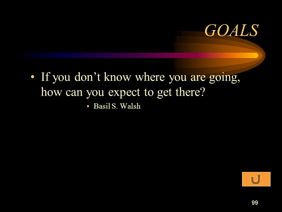 GOALS If you don't know where you are going, how can you expect to get there Basil S. Walsh