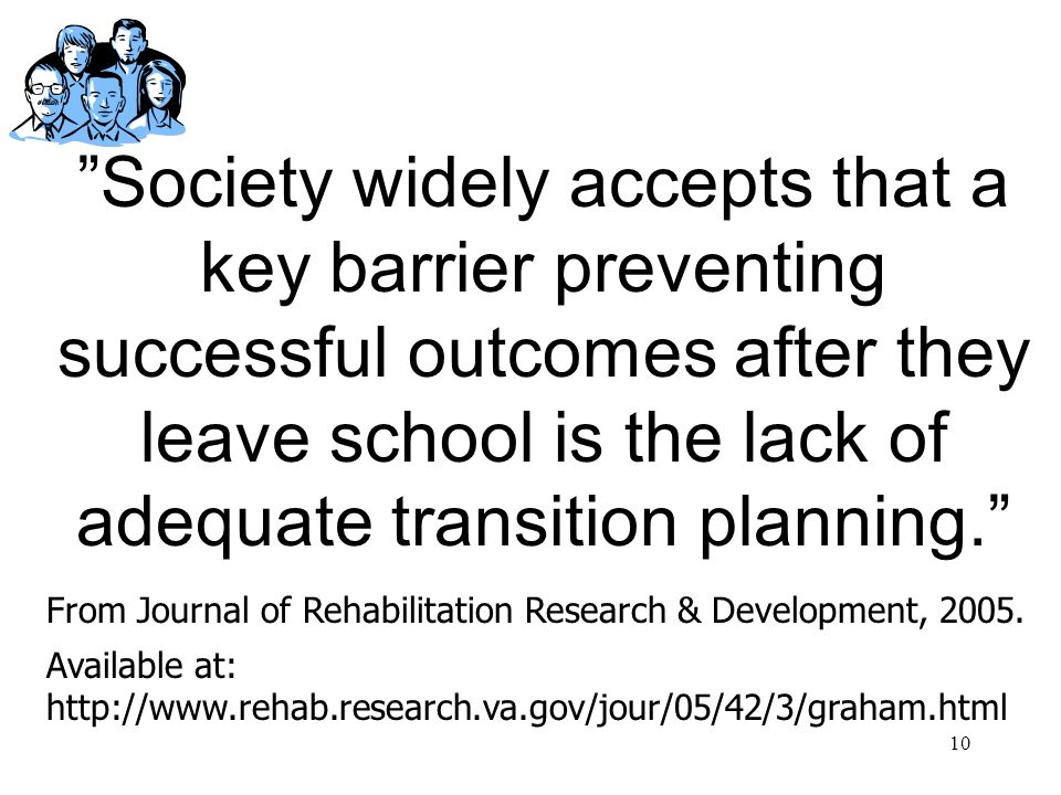 Society widely accepts that a key barrier preventing successful outcomes after they leave school is the lack of adequate transition planning.