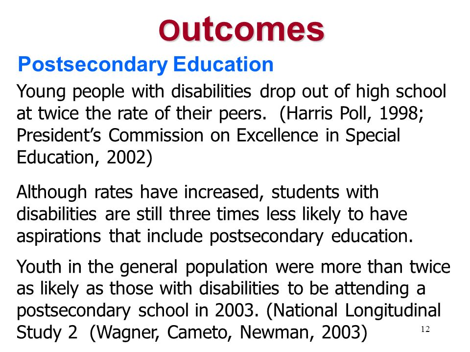 Outcomes Postsecondary Education