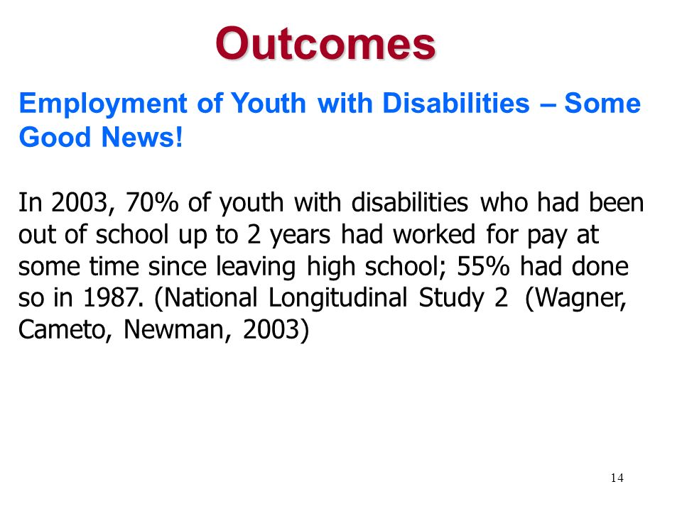 Outcomes Employment of Youth with Disabilities – Some Good News!