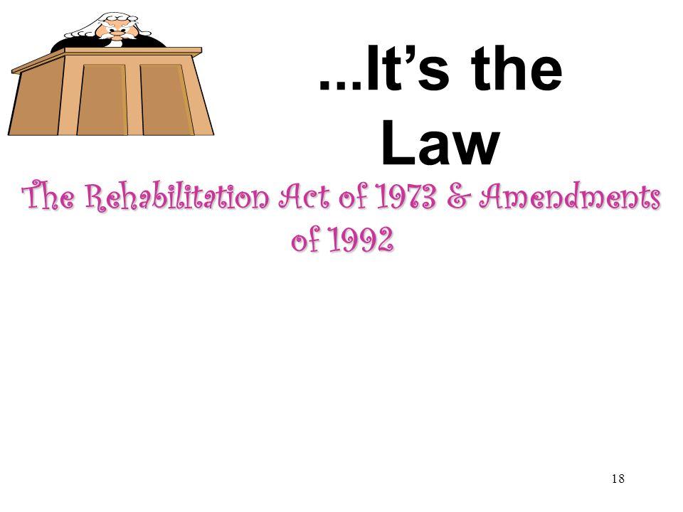 The Rehabilitation Act of 1973 & Amendments of 1992