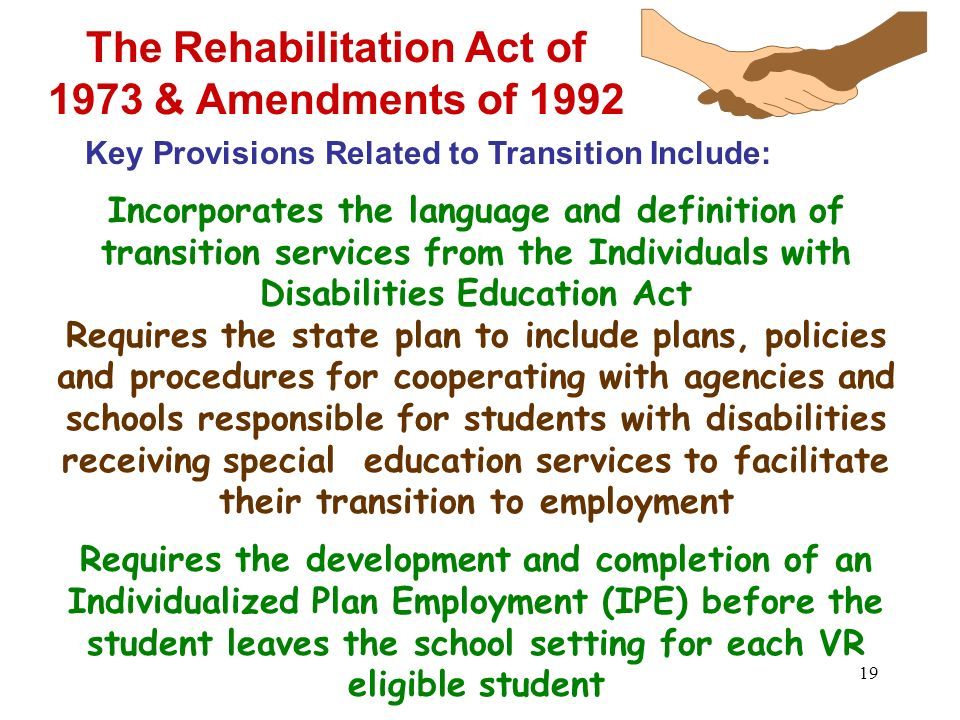 The Rehabilitation Act of 1973 & Amendments of 1992