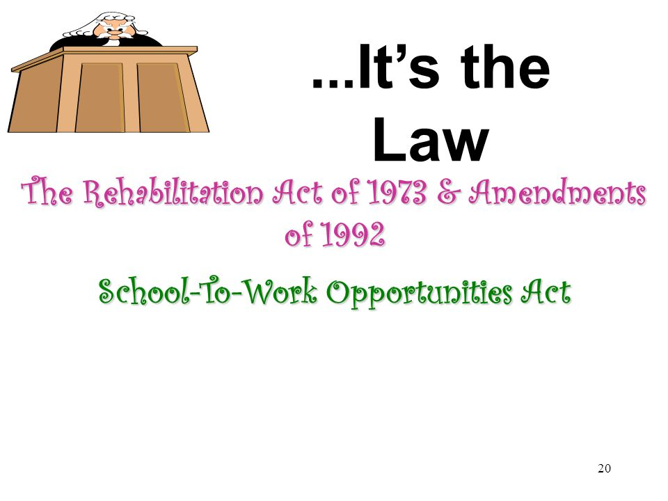 ...It's the Law The Rehabilitation Act of 1973 & Amendments of 1992
