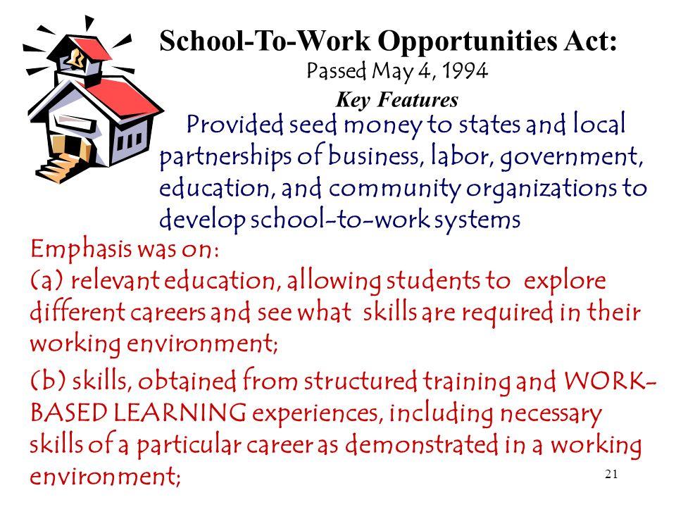 School-To-Work Opportunities Act: