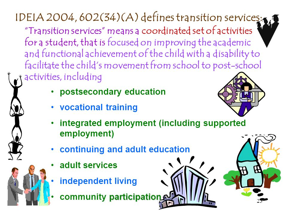 IDEIA 2004, 602(34)(A) defines transition services: