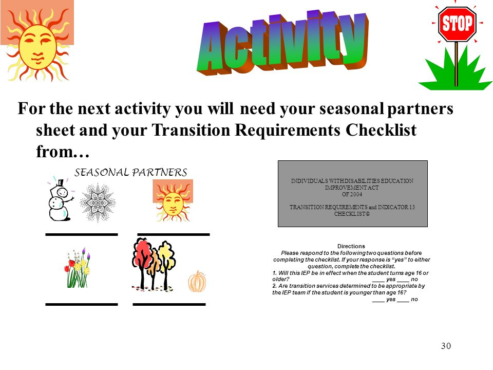 Activity For the next activity you will need your seasonal partners sheet and your Transition Requirements Checklist from…