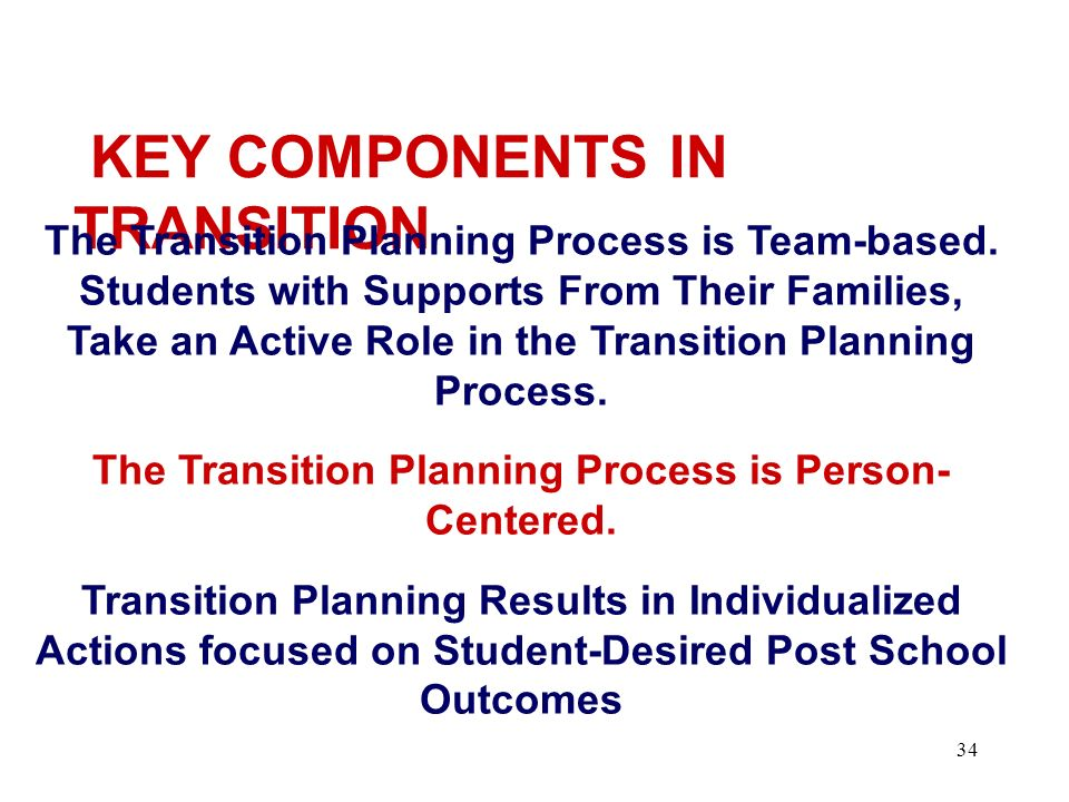 The Transition Planning Process is Person- Centered.