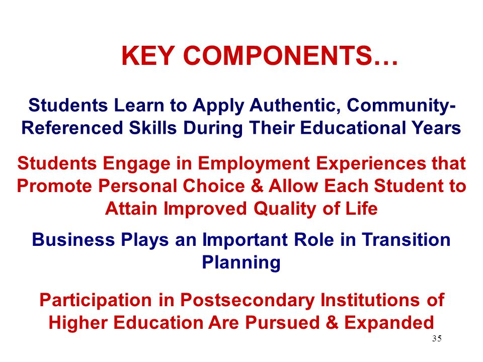 KEY COMPONENTS… Students Learn to Apply Authentic, Community- Referenced Skills During Their Educational Years.