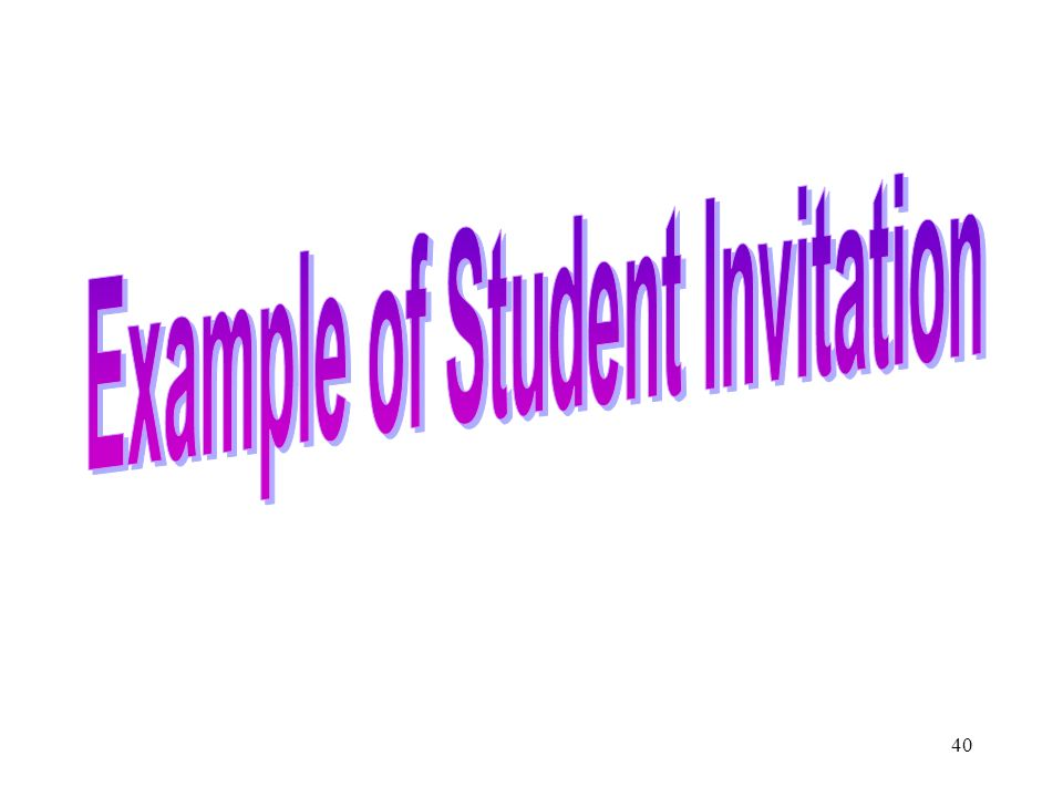 Example of Student Invitation