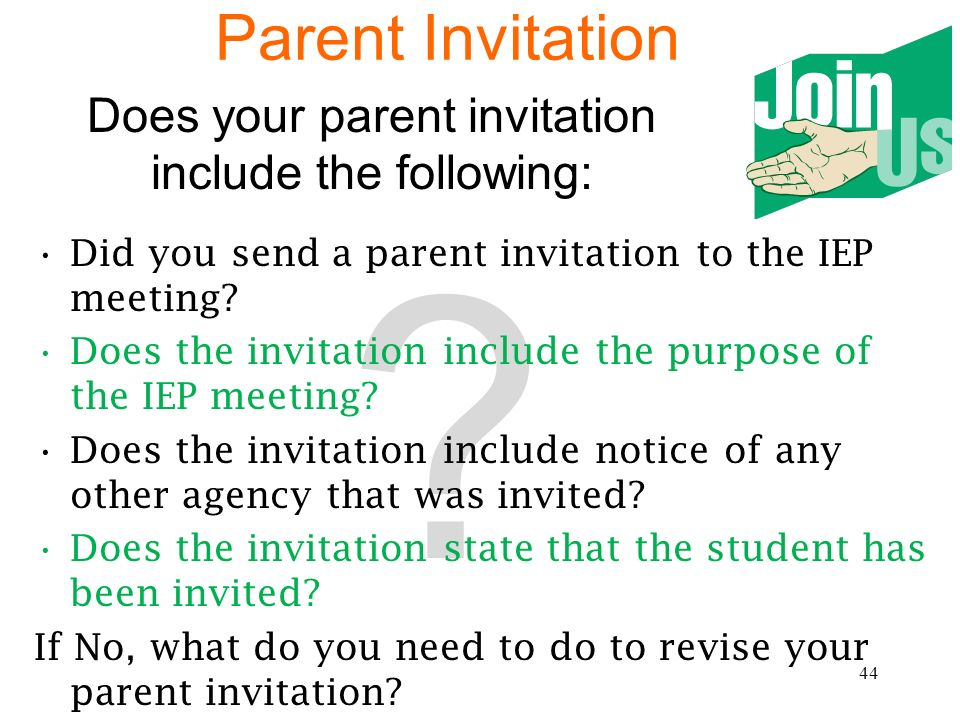 Does your parent invitation include the following: