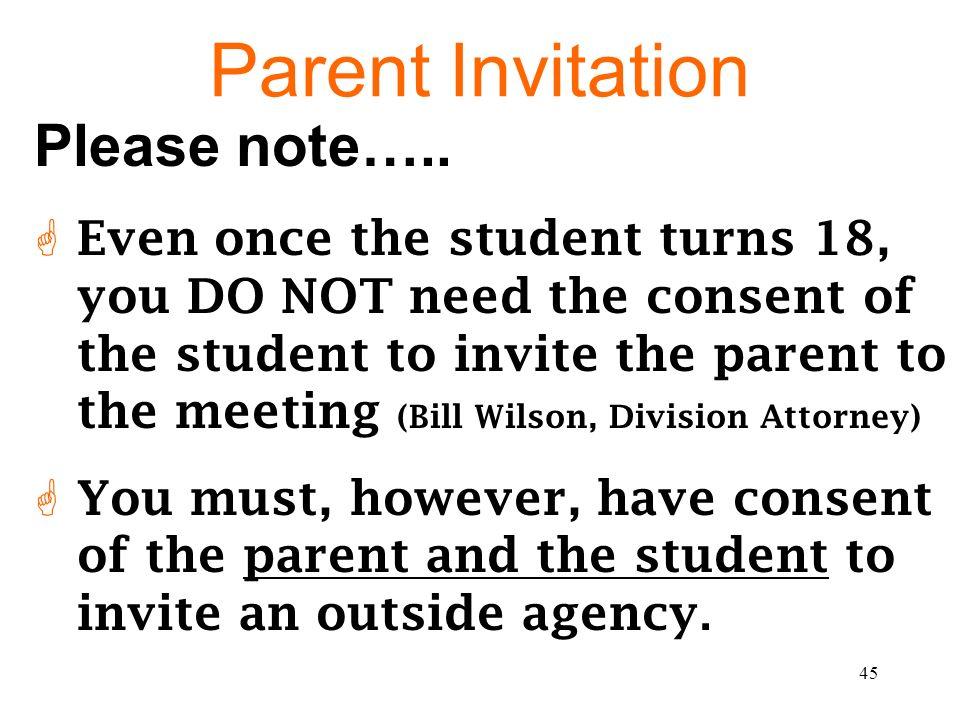 Parent Invitation Please note…..