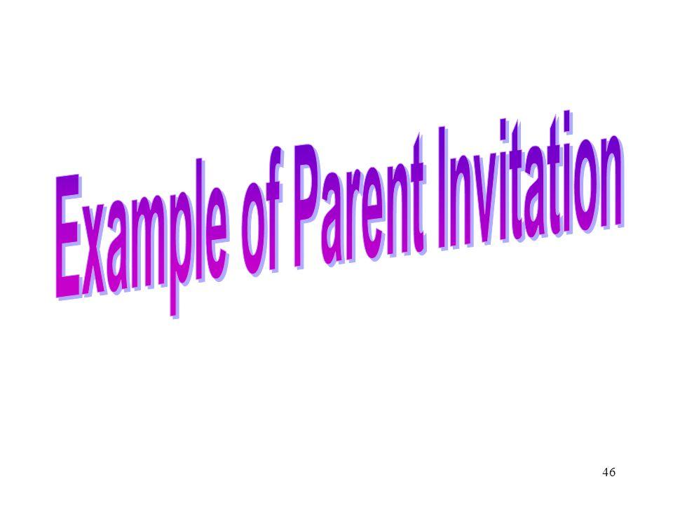 Example of Parent Invitation