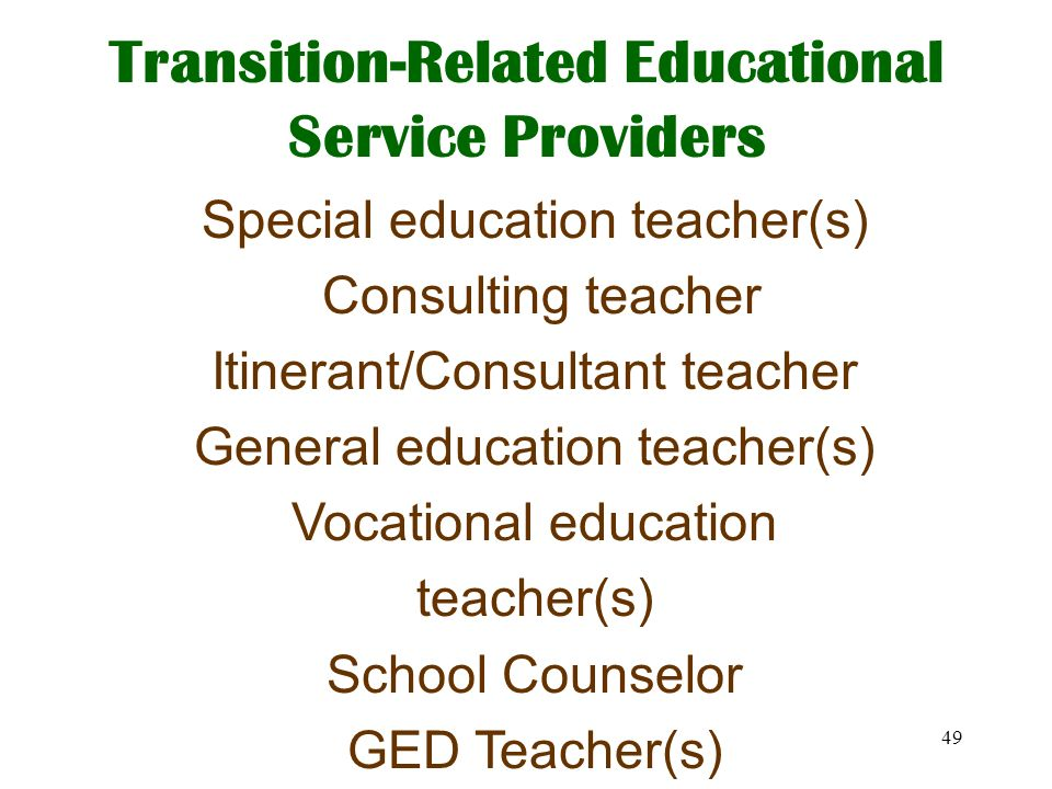 Transition-Related Educational Service Providers