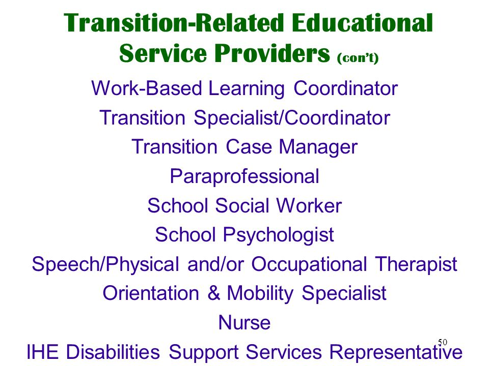 Transition-Related Educational Service Providers (con't)