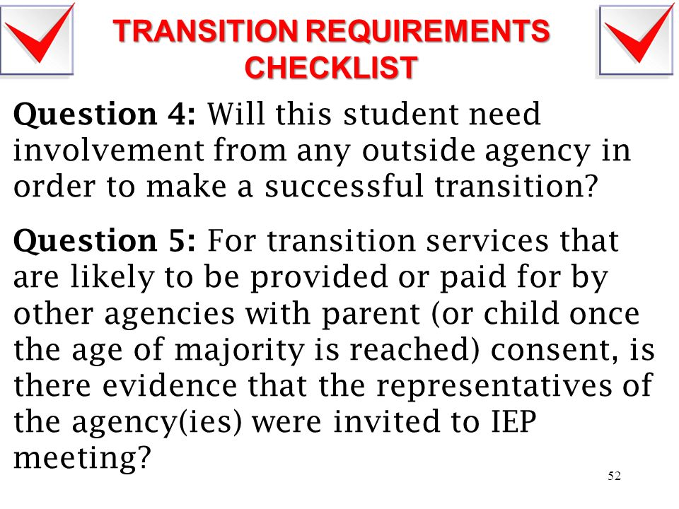TRANSITION REQUIREMENTS CHECKLIST