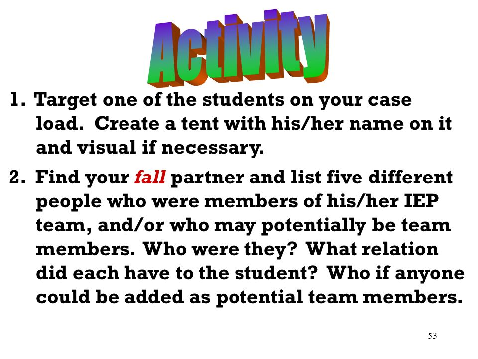 Activity 1. Target one of the students on your case load. Create a tent with his/her name on it and visual if necessary.