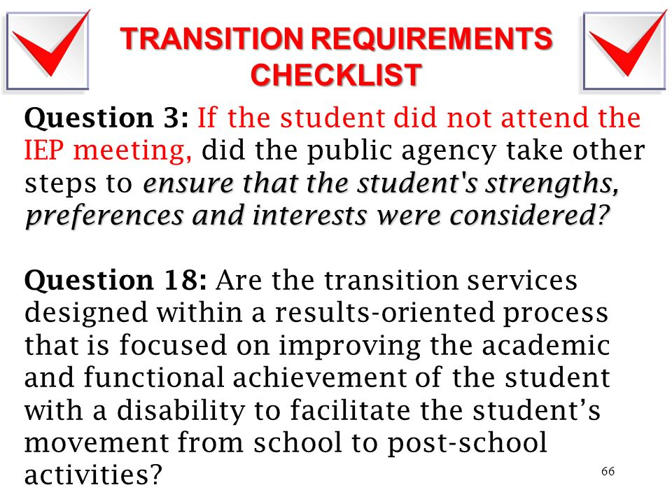 TRANSITION REQUIREMENTS