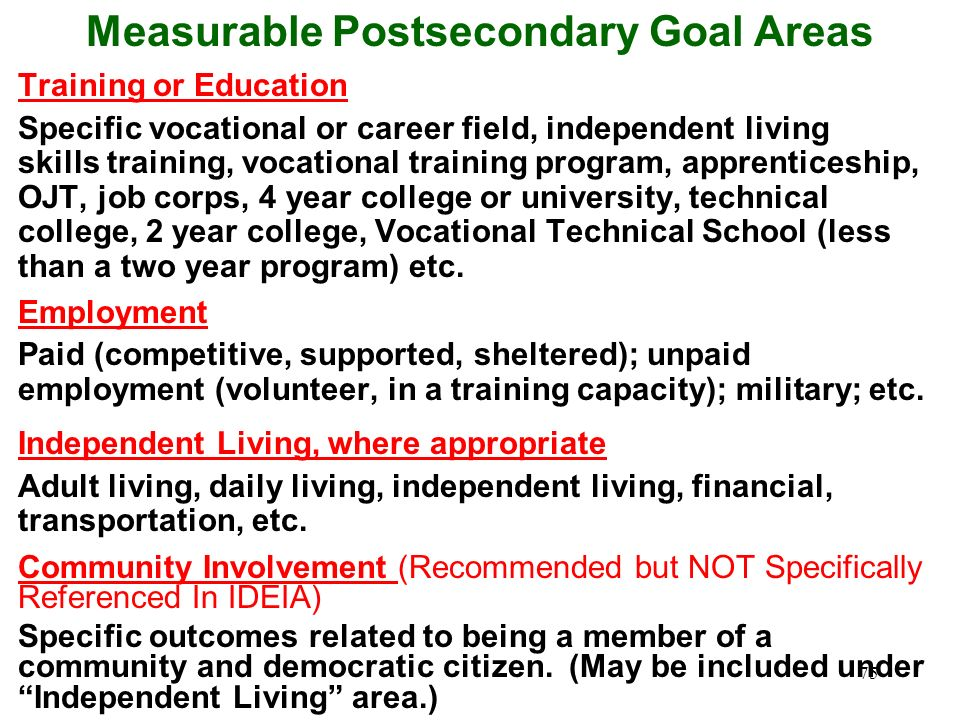 Measurable Postsecondary Goal Areas