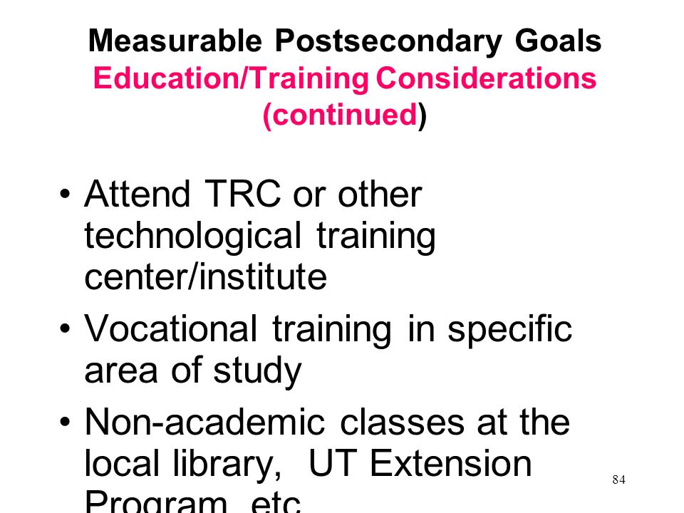 Attend TRC or other technological training center/institute