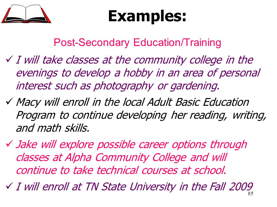 Post-Secondary Education/Training