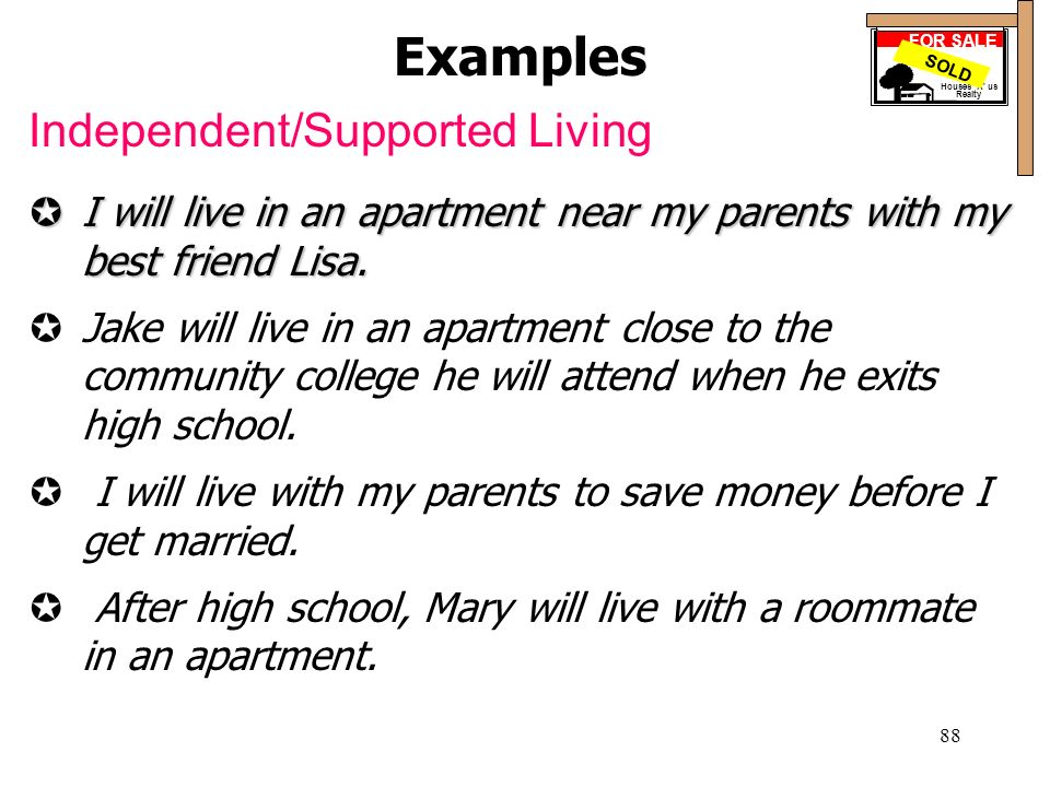Examples Independent/Supported Living