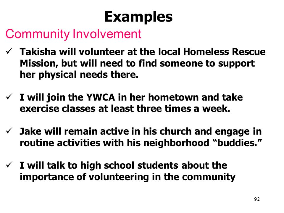 Examples Community Involvement
