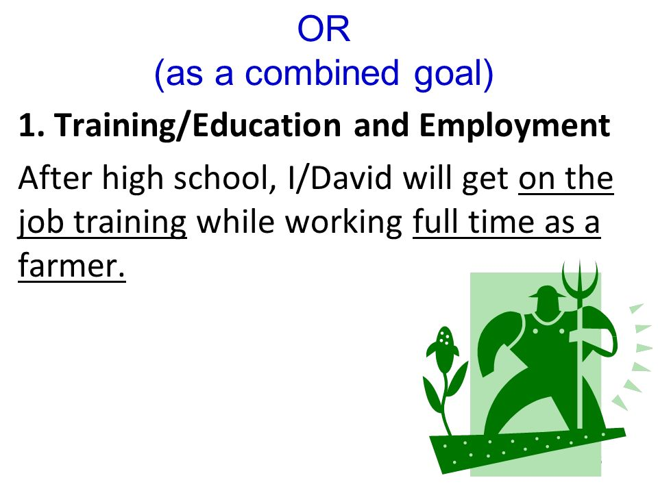 OR (as a combined goal) 1. Training/Education and Employment.