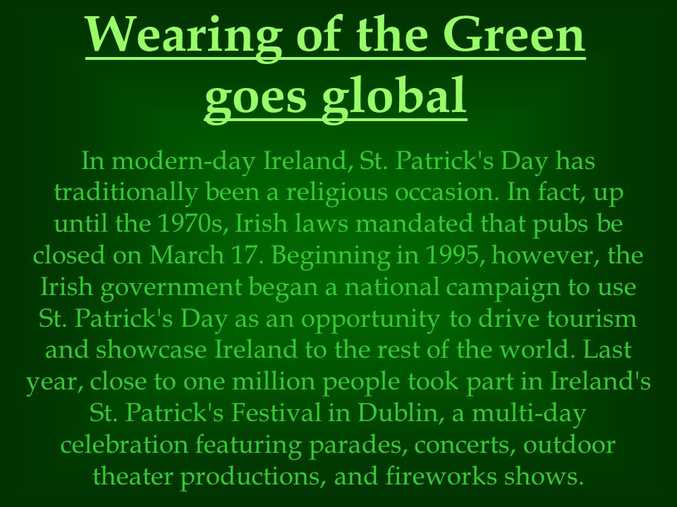 Wearing of the Green goes global