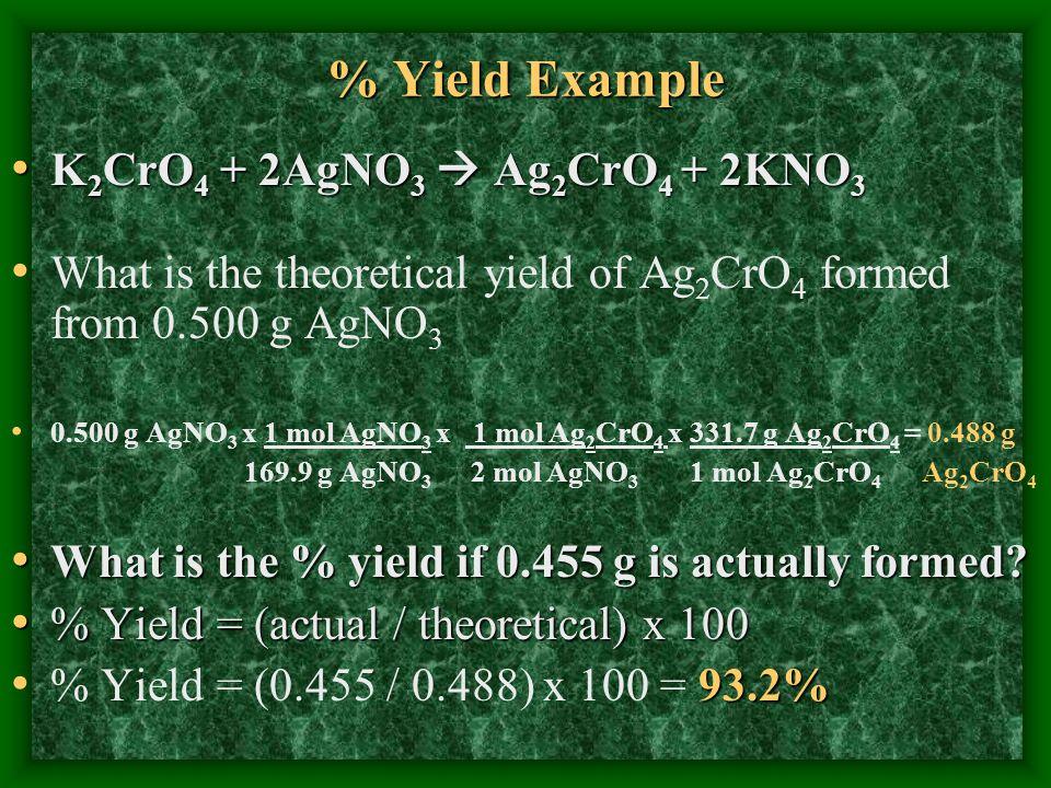 % Yield Example K2CrO4 + 2AgNO3  Ag2CrO4 + 2KNO3