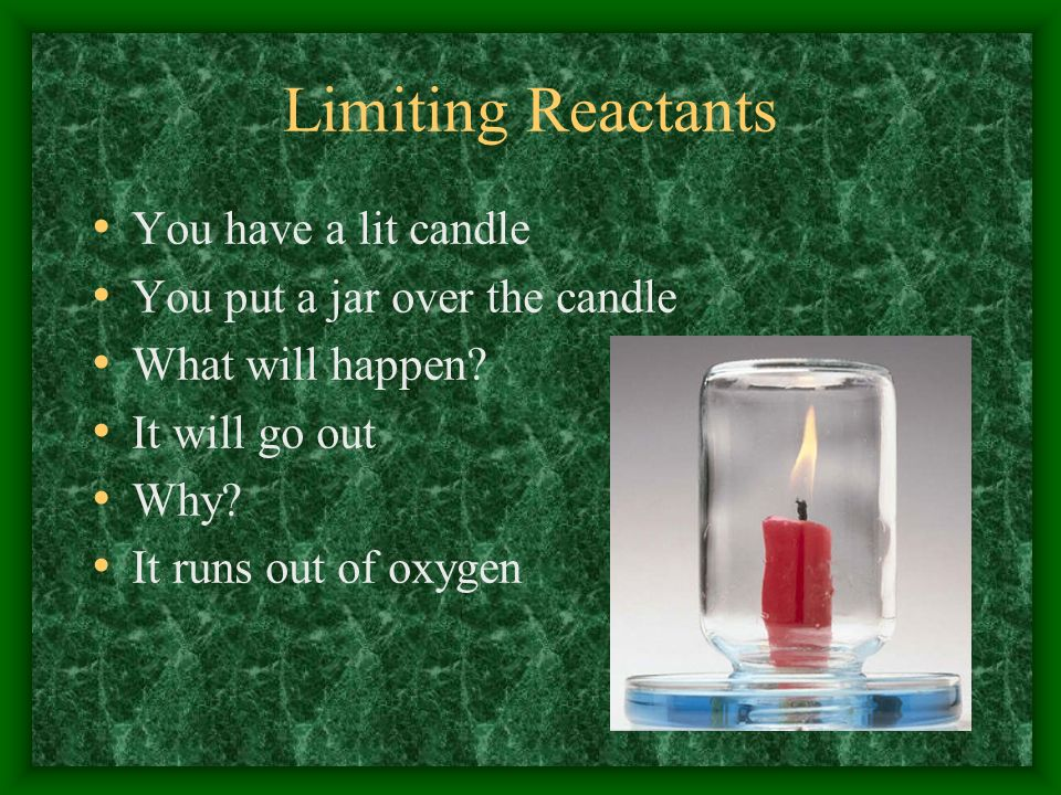 Limiting Reactants You have a lit candle You put a jar over the candle