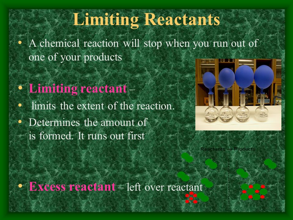 Limiting Reactants Limiting reactant –